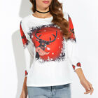 UK Women Print Long Sleeve Tops Sweatshirt Pullover Ladies Casual T-Shirt Blouse