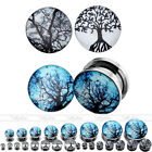 Stainless Steel Ear Flesh Tunnel Plug Screw Stretchers Life/Dead Trees Expanders