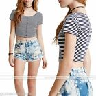 Short Sleeve Crew Neck Black White Stripe Crop Top Midriff T-Shirt Blouse S-XL