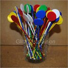 "7"" ASSORTED COCKTAIL STIRRERS SWIZZLE STICKS DISCS PACK OF 10,25,50,100,250, 500"