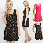 TheMogan Sleeveless Lace Fit And Flare Dress Pleated A-Line Tank Dresses