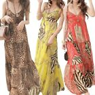 Womens ladies slip sundress beach Casual Chiffon 70s Bohemian Dress Size S
