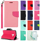 For Kyocera Hydro View Premium Leather 2 Tone Wallet Case Pouch Flip Phone Cover