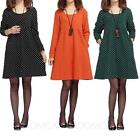 Womens ladies Loose One piece spotty Long Sleeve Cotton Blends Tunic Dress Size