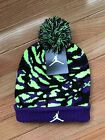 NWT Nike Air Jordan Purple Green Black Camo Beanie Hat Youth