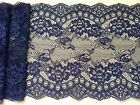 "NEW~Clipped Navy Blue Wide Delicate Flower Lace 7.5""/19 cm Craft Table Runner"