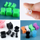 Pair Flexible Silicone Square Ear Tunnel Plugs Expander Stretcher Body Jewelry