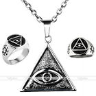 Punk Steel Eye of God/All-Seeing Eye Finger Ring & Chain Necklace For Valentine