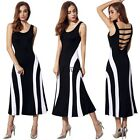 Tank Striped Hollow Back Sleeveless Women Maxi Dress New 4 sizes M-XXL Long TXCL
