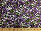 Purple Lilac Flowers Allover Floral Cotton Quilting Apparel Fabric Lilacs w2/31