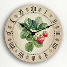 Strawberries Watercolor Style Beautiful Country Kitchen Motif Silent Wall Clock