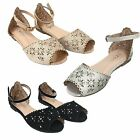 New Girls Glitter Rhinestone Flat Sandals Wedding Pageant Party Dress Shoes