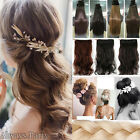 UK Real Hair 1 Piece New Lady Clip in Hair Extensions Long Curly Real Human Kn2