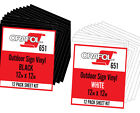 """ORACAL 651 Vinyl Sheets, Self Adhesive, 12-Pack BLACK or WHITE, 12"""" x 12""""/Sheet"""