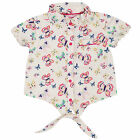 NeedyBee Butterfly Printed Short Sleeves Cotton Shirt Top for Girls