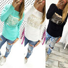 Women's Girl's Fashion Casual Ripped Round Neck Long Sleeve T-Shirt Tops Blouse