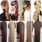 100% Natural Clip In As Human Remy Hair Extensions Pony Tail Wrap On Ponytail T5