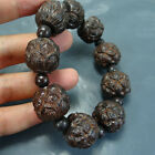 China Natural Wood carving Lotus flower beaded Bracelet crafts