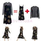2in1 View Polka Dots Strap Floral Long Sleeve Crew Neck Vintage Long Swing Dress