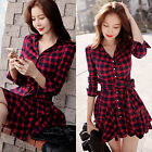 Womens Plaid Check Long Sleeve Skirt Ladies Party Cocktail Shirt Mini Dress Red