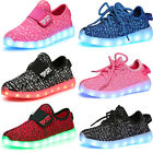 USB Unisex Children LED Light Lace Up Sportswear Sneaker Luminous Shoes Casual