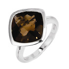 925 Sterling Silver Smoky Quartz Square Bezel Set Ring - 4.905cttw