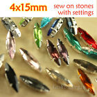 30Pcs Glass Rhinestone 4x15mm foiled Navette Crystal Fancy Sew On Stone pk color
