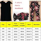 3pcs Toddler Girls Kids Headband+T-shirt+Floral Pants Outfit Set Summer Clothing