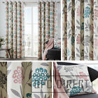 Pair of Floral Leaf 100% Cotton Eyelet Ring Top Lined Curtains, Teal Grey Pink