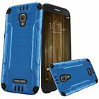 For Alcatel Fierce 4 Combat Brushed Metal HYBRID Rubber Hard Case Phone Cover