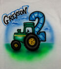 TRACTOR BIRTHDAY AIRBRUSH T SHIRT  NEW PERSONALIZED INFANT, TODDLER & YOUTH