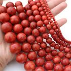 "6MM-24MM Genuine Natural Red Grass Coral Round Gemstone Loose Beads 15""AAA"