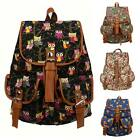 Ladies Women Girls Owl Canvas Backpack Rucksack School bag College Shoulder Bag