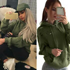 Women Long Sleeve Sweatshirt Jumper Hoodie Casual Ripped Pullover Green tops New