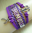 Butterfly Fibromyalgia With Cancer Ribbon Charms Suede Leather Bracelet PURPLE