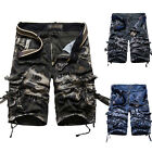 MENS ARMY STYLE CASUAL WORK CARGO COMBAT CAMOUFLAGE SHORTS COTTON HALF PANT CAMO