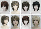 Women Synthetic Blonde Brown Mix Short Straight Ladies Fashion Hair Wigs+wig cap