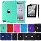 Heavy Hybrid Hard Armor Shockproof Protective Cover Case For Apple iPad 4 3 2nd