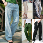 Men's Casual Loose Linen Slacks Beach Long Drawstring Trousers Summer Pants