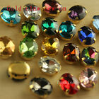 36pc 8x10mm oval crystal cut glass sew on foiled diamante rhinestones gold claws