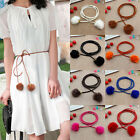Elegant Women LadiesFur Belts Leather Waist Chain Hairball Cute Candy Color Belt