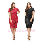 Ladies Plus Size Short Sleeve Polka Dots Bodycon Pencil Ruffles Dress Fit Party