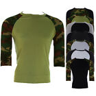 New Men's Round Neck 3/4 Sleeve Round Neck Baseball T-Shirt Tops Various Colours