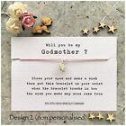 Will you be my ... GODMOTHER Friendship Wish Bracelet Christening Baptism Gift