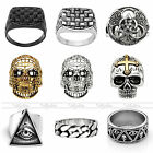 Men's Stainless Steel Valknut Masonic Skull Shield Band Wide Ring Size 9-13 Punk