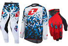 ONE INDUSTRIES ATOM MOTOCROSS KIT COMBO PANTS JERSEY GLOVES CAMO WHITE BLUE RED