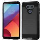 For LG G6 Premium Brushed Metal HYBRID Rubber Case Snap Phone Cover Accessory