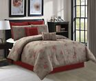Chezmoi Collection 8pc Anemone Red Taupe Floral Embroidery Bedding Comforter Set