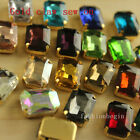30 10x14mm crystal cut glass rectangle sew on foiled rhinestones gold plate Gems