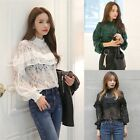 Lady Hollow Out Tops Long Sleeve Shirts Lace Crochet Blouse Club High Neck Tops